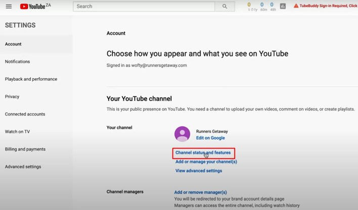 status and fetaures - How To Verify Your YouTube Account