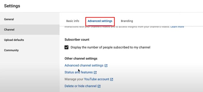 Advanced settings - How To Verify Your YouTube Account