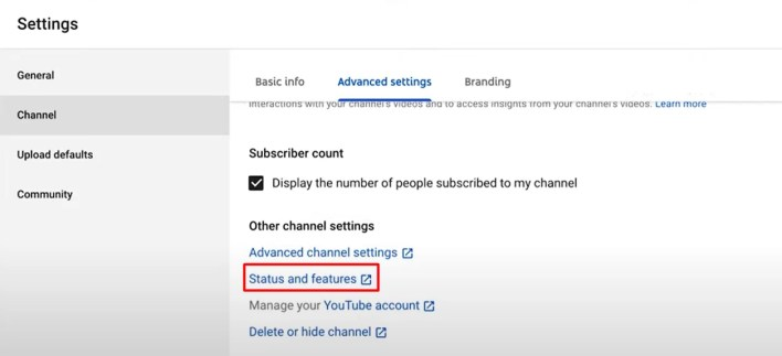 status and features - How To Verify Your YouTube Account