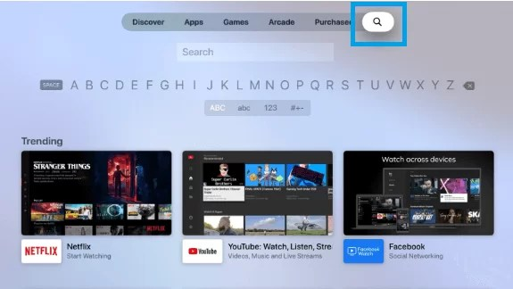 Select Search to find Pop TV on Apple TV