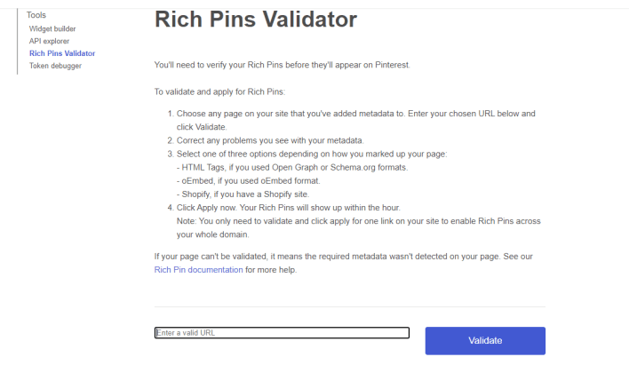 Validate URL to create Rich Pins on Pinterest