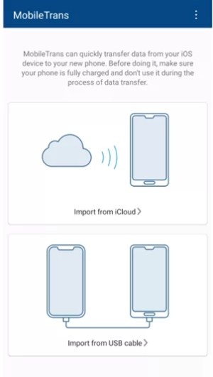 Select Import from iCloud