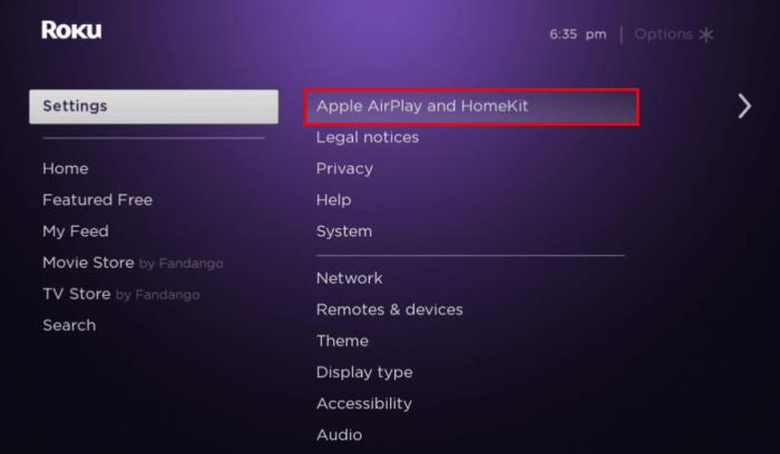 click Apple AirPlay and HomeKit