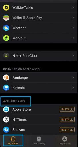 My Watch app Zello on Apple Watch