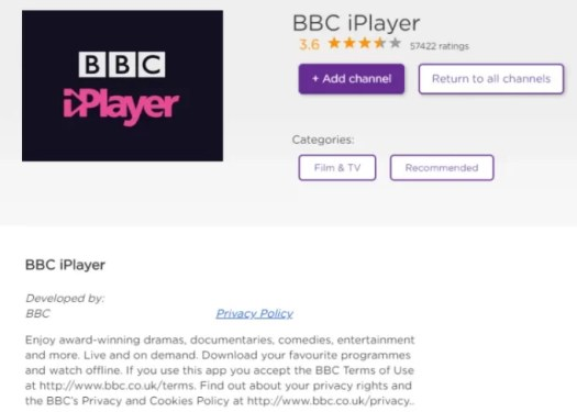 watch BBC iPlayer on Roku