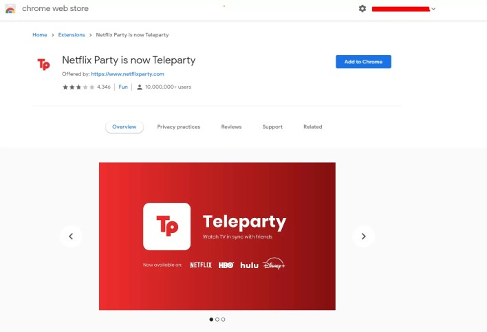 Add Teleparty Extension