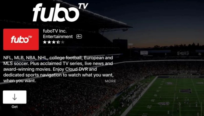 select Get to install fuboTV on Apple TV