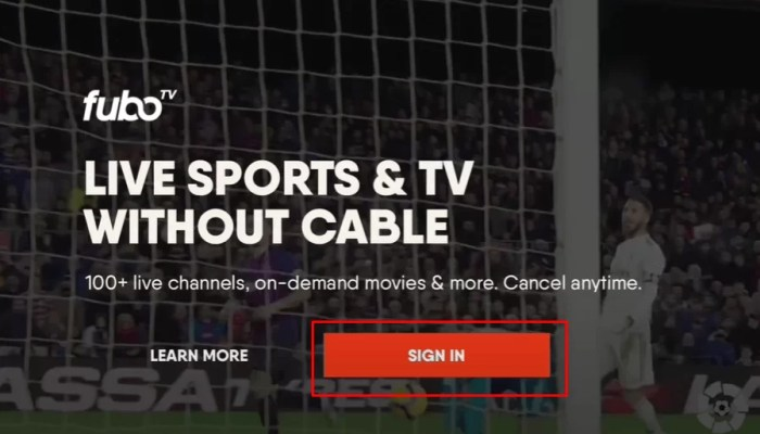Sign in to your fuboTV account on Apple TV