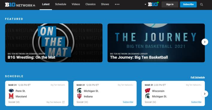 Big Ten Network Plus site