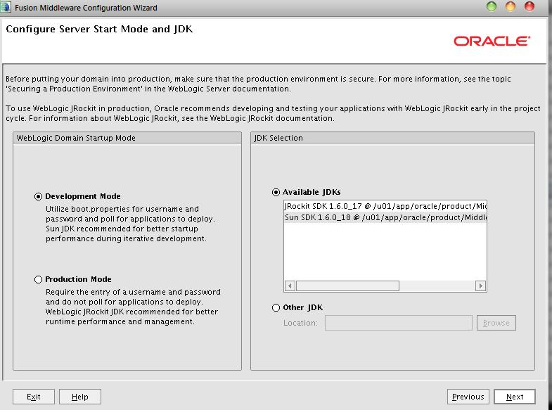 Configure Server StartMode and JDK