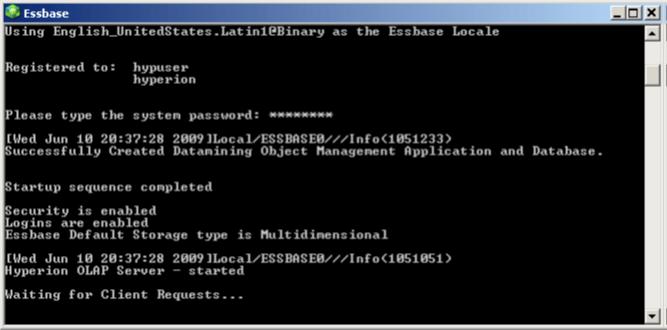 Start Essbase Screen
