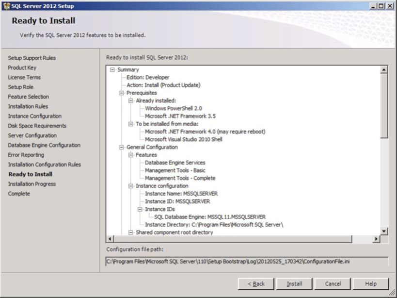 SQL Server Features to install Verify Screen