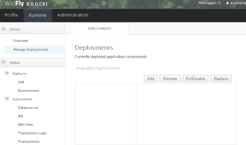 WildFly Deployment using management console