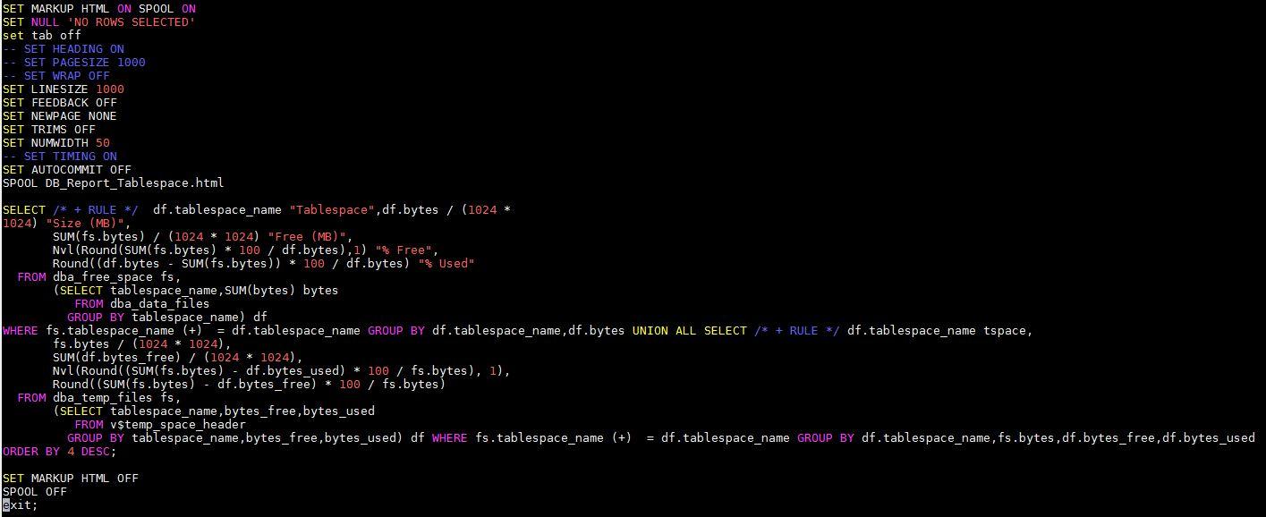 sqlplus output to html