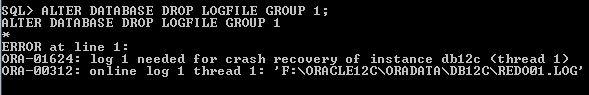 Oracle Redo Log Size Drop