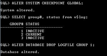 Oracle Redo Log Size Drop Log file