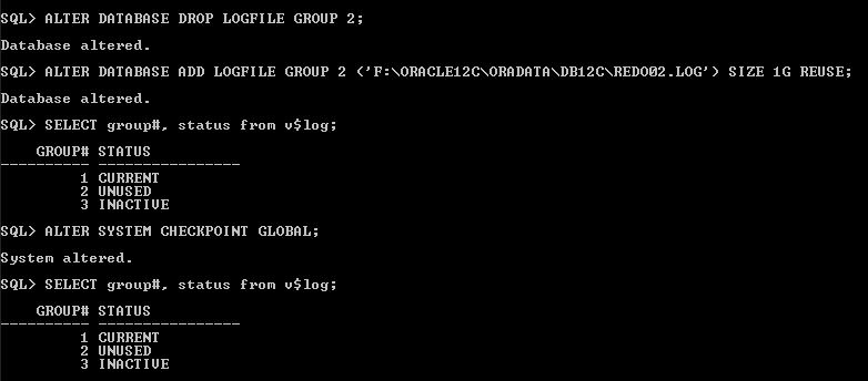 Oracle Redo Log file drop for group 2