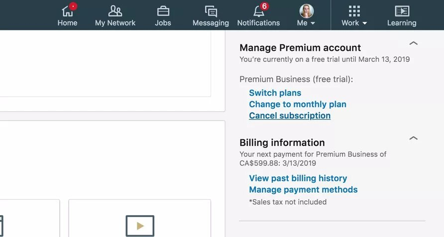 Cancel Linkedin Premium
