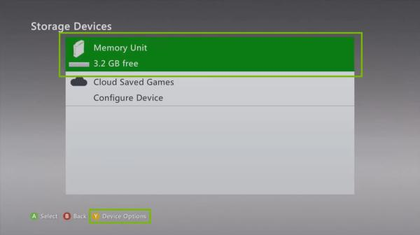 Select Memory Unit - how to Reset Xbox 360