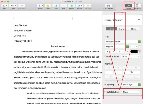 Make a bullet point on Mac in Pages