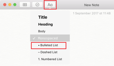 Make a bullet point on Mac in Notes