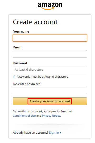 create account - Watch Prime Video on Xbox