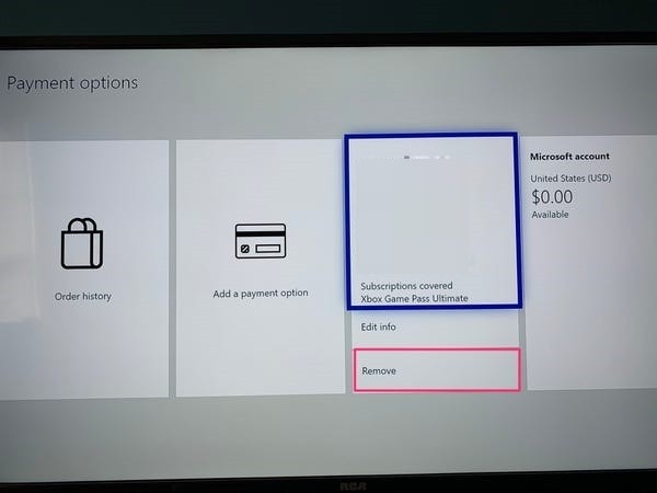 Remove Credit Card From Xbox