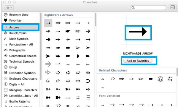 Arrow Keyboard Symbol on Mac