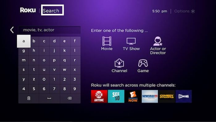Search-on-Roku