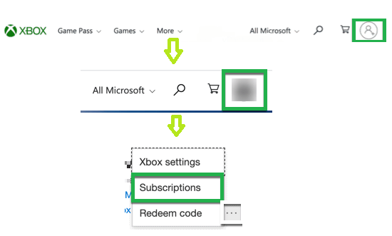 Xbox Profile - Subscriptions