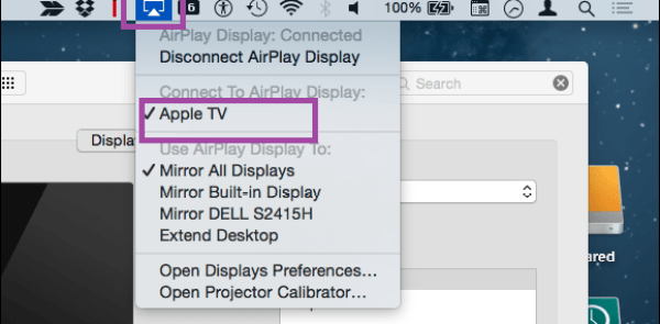 Screen mirror on Menu bar - Mac