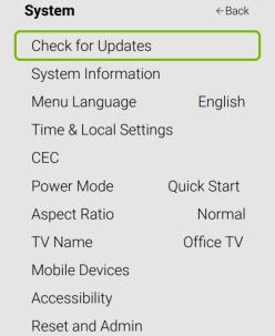 Check for Updates - Vizio TV