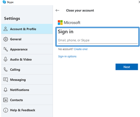 Sign in to MS account - Delete a Skype Account
