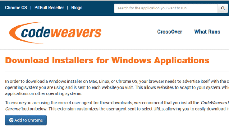Installer CodeWeavers