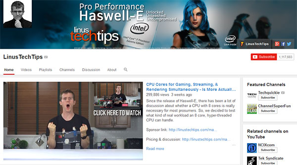 LinusTechTips Best Tech Youtube Channels for 2015