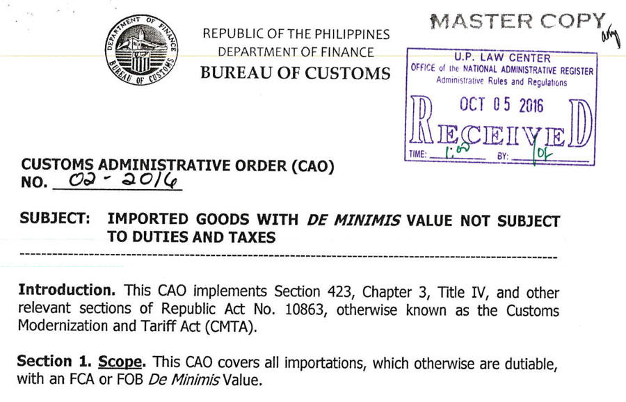 Customs: 10000 PHP Items Below Exempted For Duties & Taxes