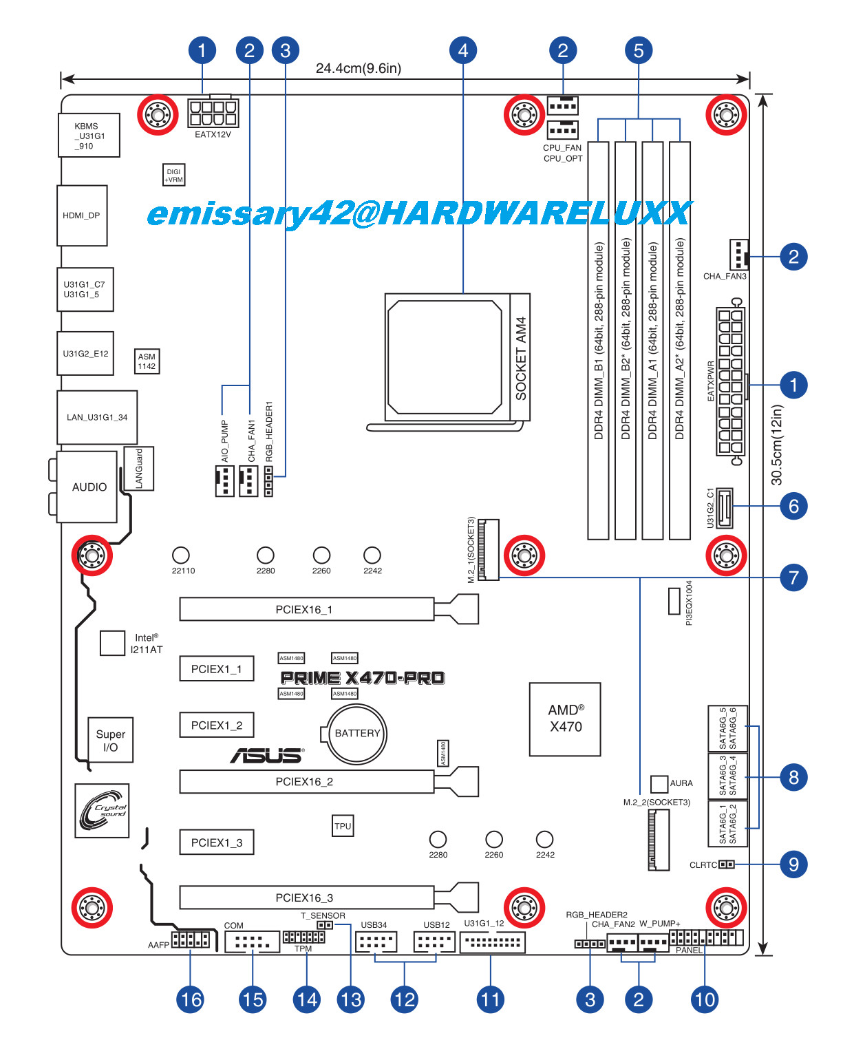 Asus Amd X470 Motherboard Layout Drawings And Specs Sheets