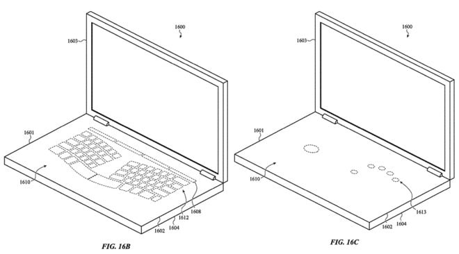 Apple Files Patent for a MacBook with Virtual Keyboard and
