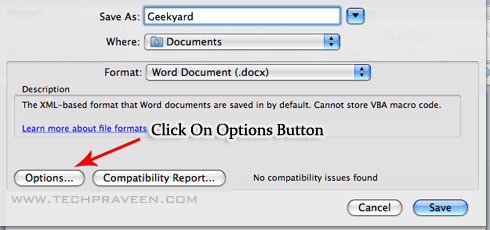 Microsoft Word doc 2011 Save As Options