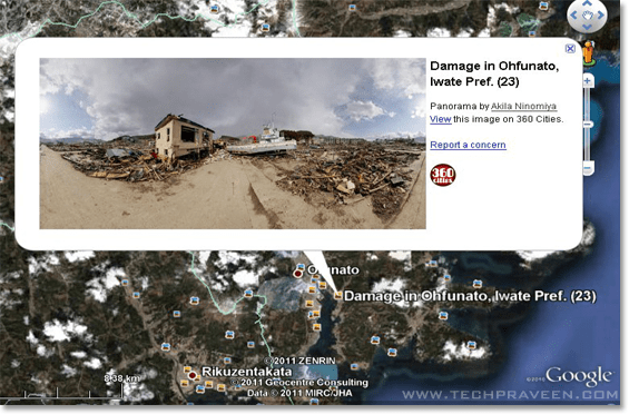 Panorama Photos of Japan's Post-earthquake Zones Now in Google Earth