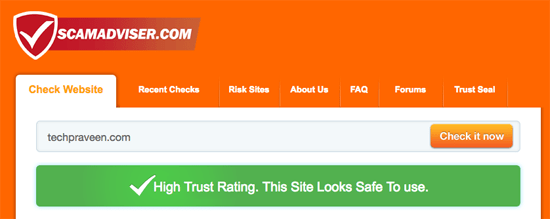 Scamadviser Website safe check