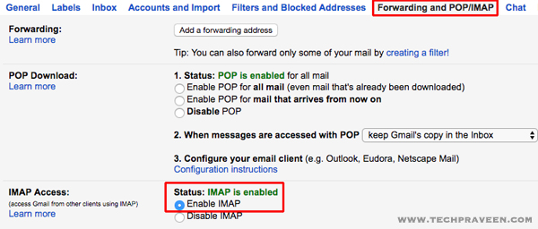Forwarding and POP,IMAP Gmail Access Settings