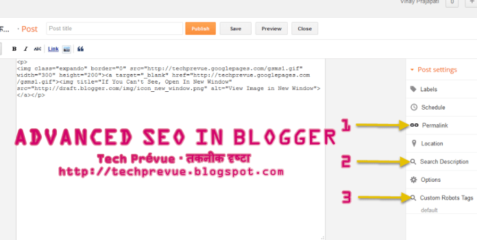 Advanced SEO Options in Blogger