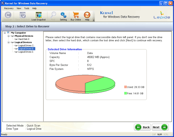 Kernel for Windows data recovery - Select recovery mode