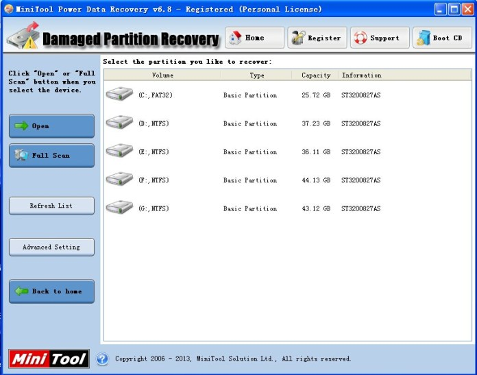 mini tool power data recovery damaged partition