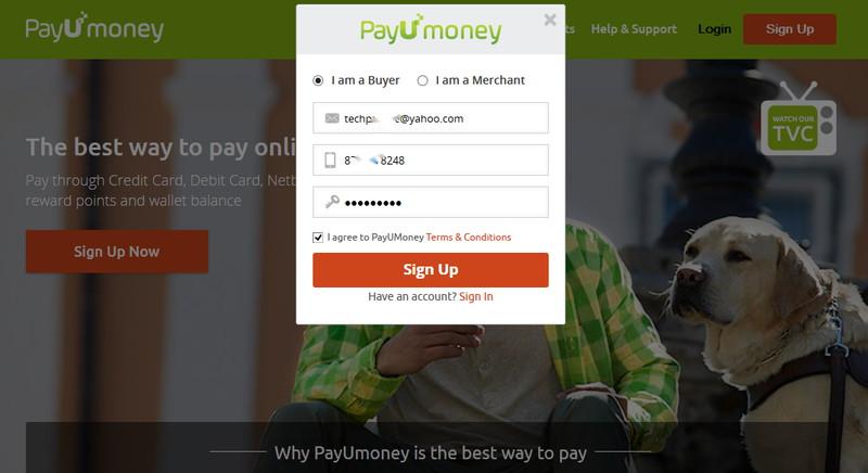payumoney sign up