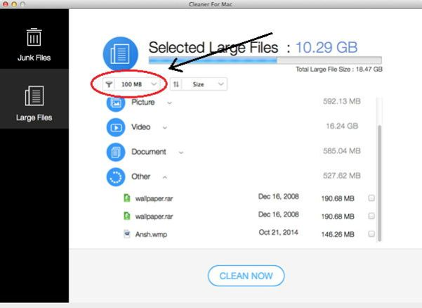Doctor Disk Cleaner for Mac OS Large Files