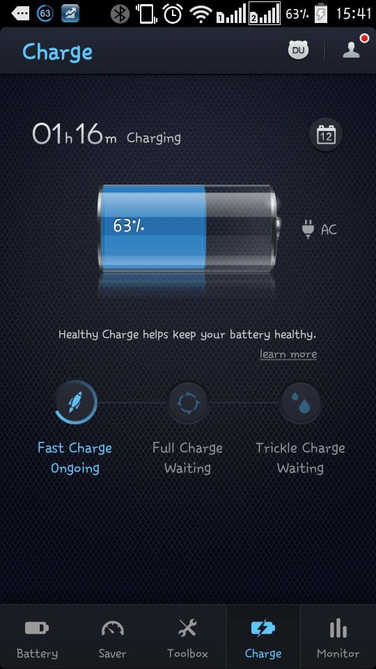 du battery saver charging