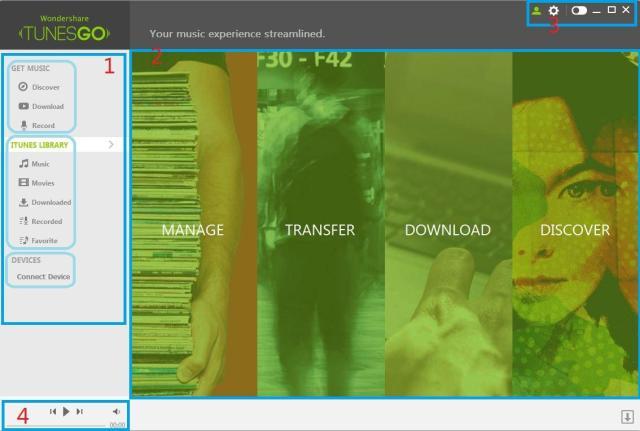 TunesGo Simple User Interface