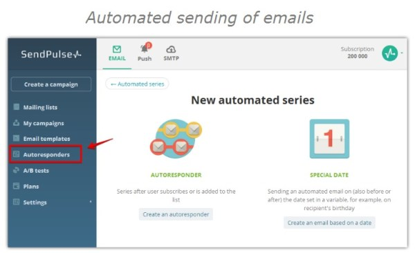 Automated sending of emails